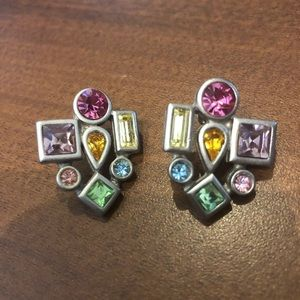 Earrings with multi colored stones/crystals